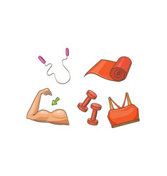 fitness sport icons set biceps jump rope mat vector image