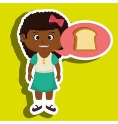 Girl cartoon bread slice vector