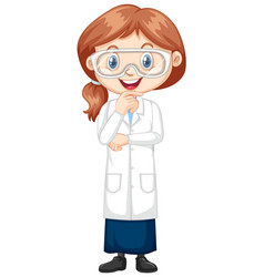 Girl in science gown on white background vector