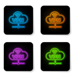 glowing neon vpn network cloud connection icon vector image