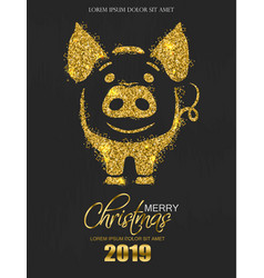 Golden glitter pig icon new year card vector