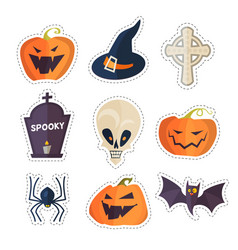 Halloween cartoon elements set stickers vector