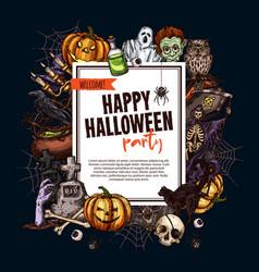 Halloween sketch monsters party poster vector