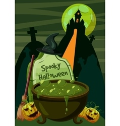 Halloween spooky cauldron concept cartoon style vector