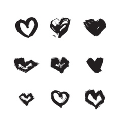 Hand drawn ink heart symbol set Abstract vector image