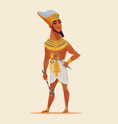 Happy smiling young egyptian pharaoh vector