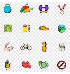 Healthy lifestyle set icons vector