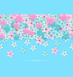 heart on flower seamless pattern background vector image