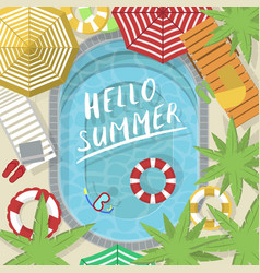 Hello summer banner with water pool vector
