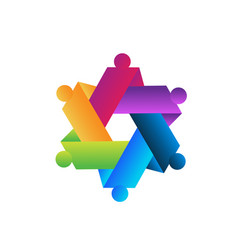 hexagon abstract teamwork icon vector image