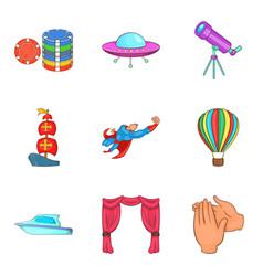 Holiday-maker icons set cartoon style vector