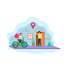 home deliverydelivery boy with bike vector image