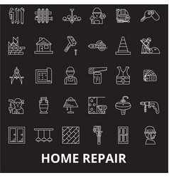 home repair editable line icons set on vector image