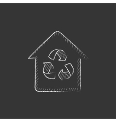 House with recycling symbol Drawn in chalk icon vector image