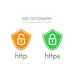 Http and https security certificates in shields vector