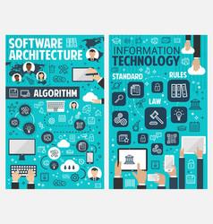 Information and communication technology banner vector