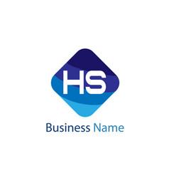 initial hs letter logo design vector image