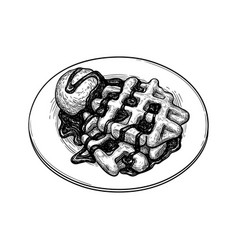 Ink sketch waffles vector
