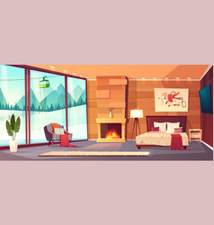 Interior hotel bedroom winter resort vector