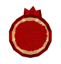 isolated geometric pomegranate cut low poly vector image