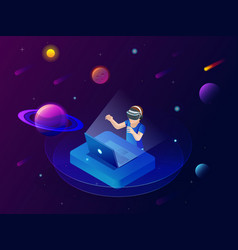 Isometric virtual reality concept a boy in vector