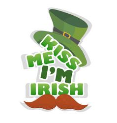 kiss me im irish - design with leprechaun hat vector image