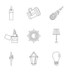 Light symbols icon set outline style vector