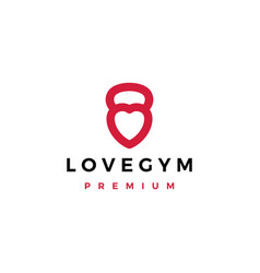 love gym kettlebell fitness logo icon vector image