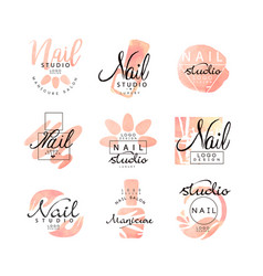 Manicure nail studio logo design set creative vector