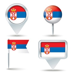 Map pins with flag of Serbia vector