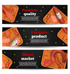 meat market horizontal banners vector image