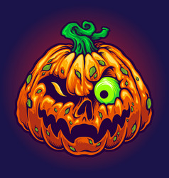 Monster jack o lantern creepy pumpkins halloween vector