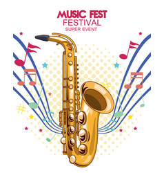 Music fest poster with saxophone vector