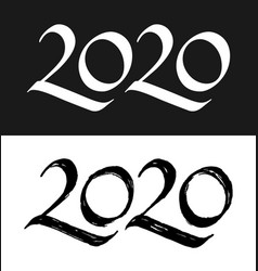 New year 2020 calligraphic numbers set vector