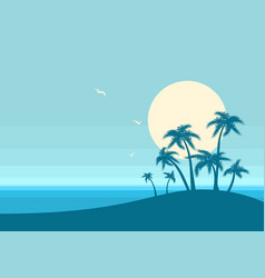 ocean and tropical island on blue background vector image