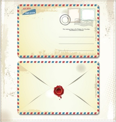 Old postage envelope with stamps and wax seal vector image