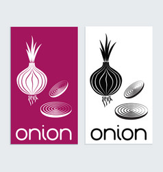 onion logo icon sign tamplat red onion silouhette vector image