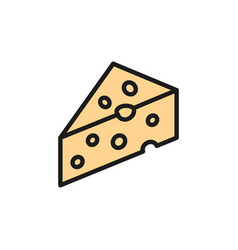 Piece cheese with holes delicacy flat color vector