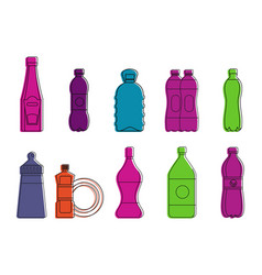 Plastic bottle icon set color outline style vector
