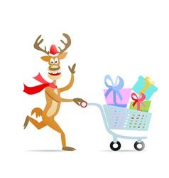 Running shopping christmas reindeer vector