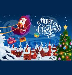 Santa claus with christmas gifts and xmas sledge vector