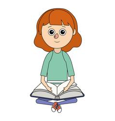 school student girl cartoon vector image
