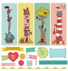 Scrapbook Design Elements - Vintage Child Set vector image