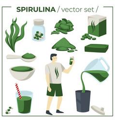 Seaweed supplement detox nutrition spirulina vector