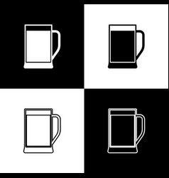 set glass beer icons isolated on black and vector image