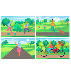 set of posters with people having fun in park vector image