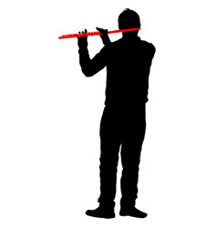 silhouette of musician playing the flute on a vector image