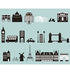 silhouettes famous cities vector image