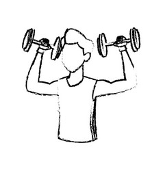 Sketch man weight lifting exercise vector