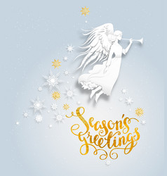 Snow background with angel vector